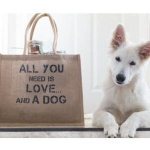 eco shopper jute - all you need is love...and a dog