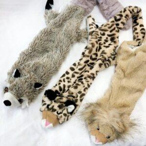 waschbaer, loewe und leopard mit zwei quietschern