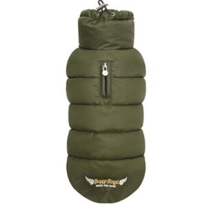 puppy angel love faux down vest olive