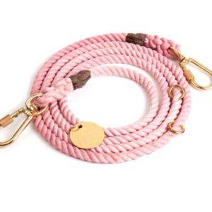 blush cotton rope dog leash adjustable