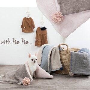 louisdog leinen und baumwoll decke mit ponpon