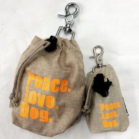 leckerlibeutel peace love dog orange