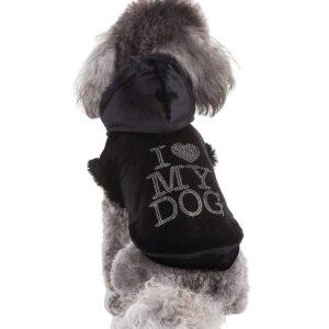 hunde hoodie love u forever schwarz