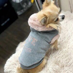 hunde hoodie love u forever grey
