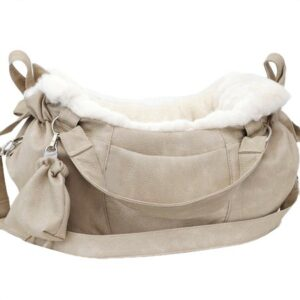 hundetasche aspen nubuk grey with hermelin