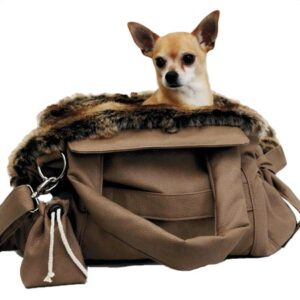 designer hundetasche bellagio beige with chinchilla
