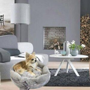 hundebagel fluffy silver grey
