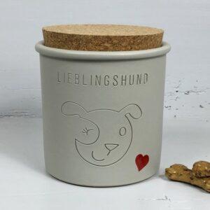 keramik dose lieblingshund grau